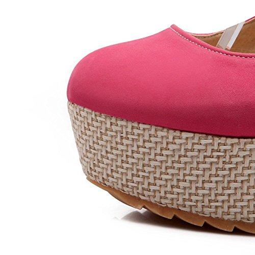 VogueZone009 Damen Mattglasbirne Hoher Absatz Rund Zehe Rein Schnalle Pumps Schuhe Pink