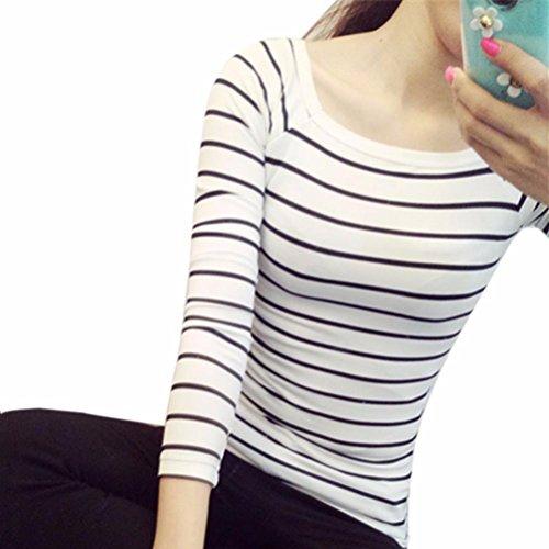 Damen Mode Baumwolle Blusen Lose Elegant T Shirt O-Ausschnitt Slim Fit Blusenshirt Plus size Striped Baumwolle Bluse Festliche blusen Casual Unregelmäßige Tops S-XXL (Weiß, L) (Gestreiften T-shirt Plus Size)