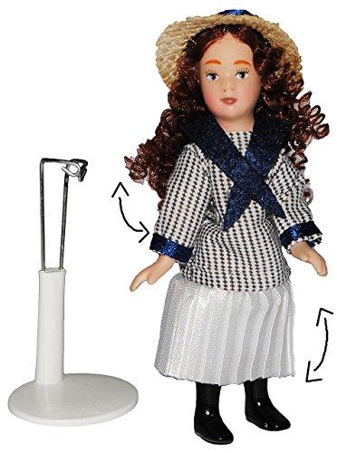 Mädchen mit Marine Kleid - Puppe für Puppenstube - Maßstab 1:12 - Porzellan mit echten Haaren incl. Ständer - Biegepuppen Familie Biegepuppe Nostalgie Porzellanpuppe Puppenhaus Sammlerpuppe Nostalgie - Frau - Porzellanpuppen - Puppen Sommerhut Stil - Matrosin - Maritim Puppenhaus 1 12 Maßstab Familie