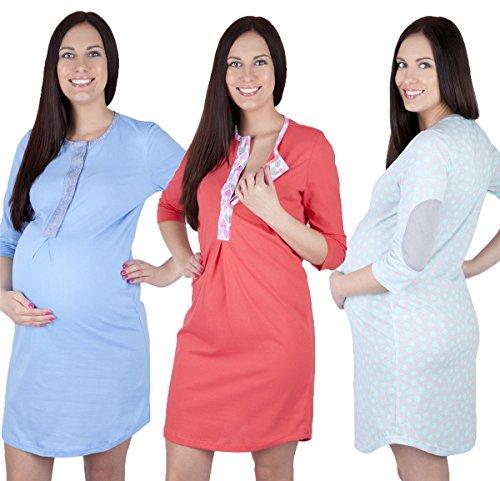 Damen Nachthemd Baumwolle langarm,CRAVOG Umstandsnachthemd Nachtwäsche Hübsches Stillnachthemd Nachthemden für Schwangere Blau