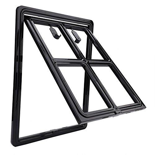Magnetische Klappe (Smandy Haustierklappe Kunststoff Rahmen Hund Katze Tür Katzenklappe Hundeklappe Magnetische Verriegelung Sichere Klappe, einfache Installation, für Bildschirm Tür Tor und Fenster(Large schwarz))