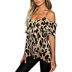 Luckycat Mujer Camisola de Verano Cami Tank Tops Dama Color Solido Correa Suelta Columpios con Volantes Blusa Camiseta sin Mangas Chaleco con Estampado De Leopardo para Mujer Camiseta Informal T Shirt