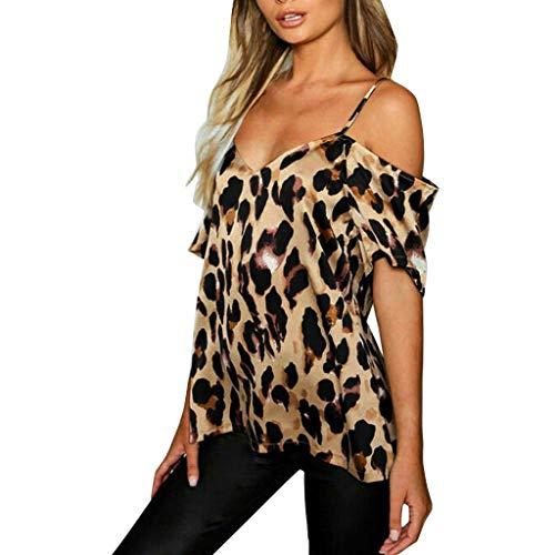 Sunnyadrain Chemisier Manche Courte Femme T-Shirt à Manches Longues pour Femme, Chemisier à épaules dénudées et imprimé léopard pour Femmes Tee Shirt Pas Ch