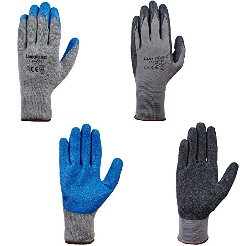 Lumaland Schutzhandschuhe Nylon EN 388 3121 Arbeitshandschuhe 12 Paar verschiedene Größen XL