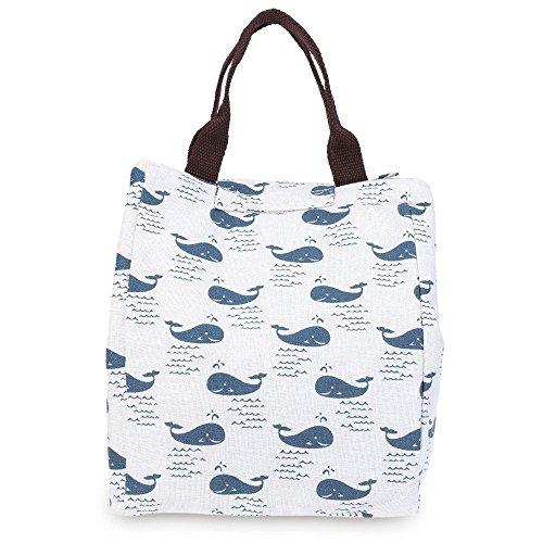 (LAAT Tragbare Mittagessen Handtasche Thermalisolierte Tote Canvas Picknick Kühl tasche Nette Food Organizer Box Zip Closure mit Zinn Folie Layer 24 * 20 * 17CM Blau Wale)
