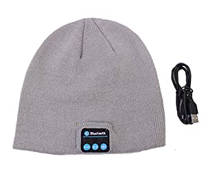 Dearbuy Bluetooth Beanie Hat Knit Smart Music Cap with Wireless Headphones Headsets Earphone Gray