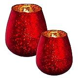 Glaswindlicht RED PELOSA - Teelichtglas - innen Bauernsilber - Teelichthalter - rot (12x13 cm)