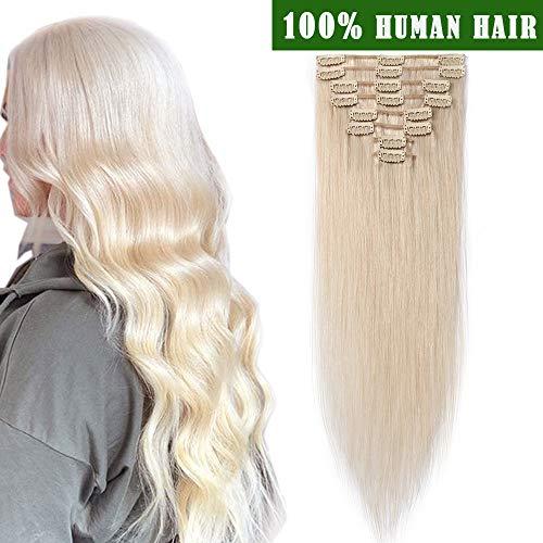"""SEGO Clip In Extensions Remy Echthaar Haarverlängerung Haarteil hitzebeständig glatt natürliches Weiß bleichen#70 24""""(61cm)-80g"""