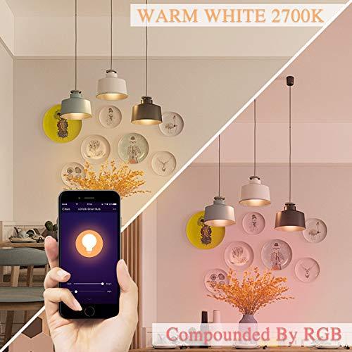 LOHAS wifi lampe E27, Aktualisierte Version RGB+Kaltweiß 6000K+Warmweiß 2700K Smart LED, Kompatibel mit Amazon Alexa, IFTTT, Siri und Google Home, Dimmbar via app, 8W=60W A60 LED Lampe Erweiterung