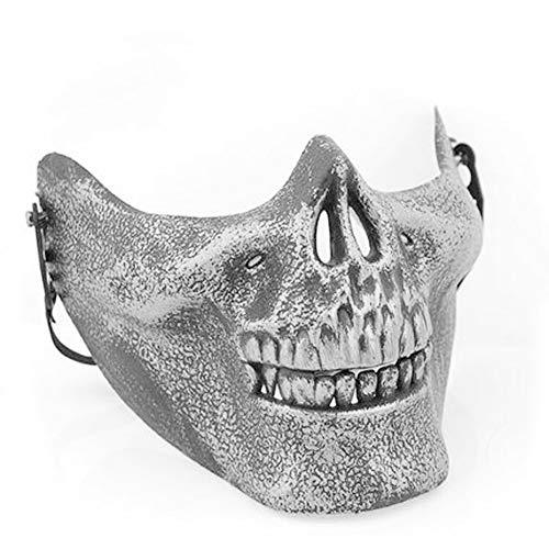 Starall Kunststoff Horror Schädel Kiefer Maske Terror Half Face Shied Menschliches Skelett Krieger Geist Maske für Halloween Party (Silber)