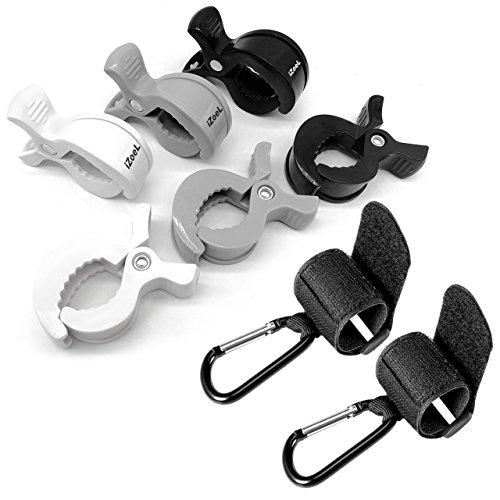 6 Kinderwagen Klammer + 2 Haken Clips für Einkaufstasche Spielzeug Wickeltasche Winter Decke , Kinderwagen Zubehör, Geschenk zur Baby Geburt (Die 5-tage-beutel Test)