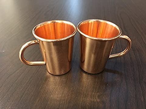 Set of 2 Small Solid Copper Moscow Mule Shot Glasses with Handle, 2 Ounces