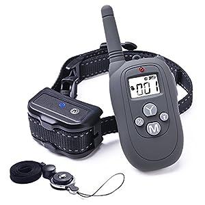 Wolfwill Collier de Dressage P02 Totalement Etanche IP67 Portée 980 Pieds pour Chien Collier Electrique Press & Act Tech avec Mode Bip/Vibration/Choc/Lumière LED,Ecran LCD pour Un Chien