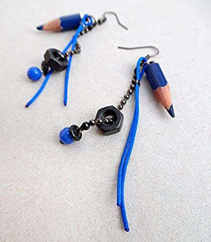boucles d'oreilles CRAYONS bleus / boulons