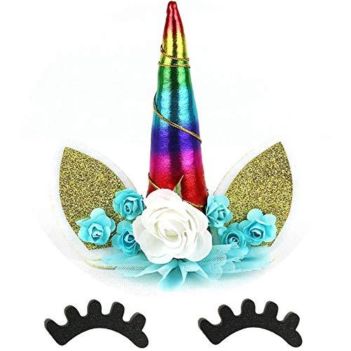 Asien - Juego de decoración para Tartas de Unicornio arcoíris Hecho a Mano, Cuerno de Unicornio, pestañas de Orejas, y