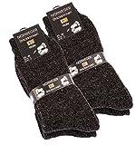 4 Paar Dicke Warme Norweger Socken-Stricksocken mit Wolle,schwarz-grau melliert,43/46