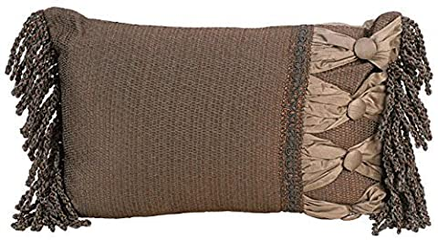 India House 18 by 12-Inch Rectangular Smoke Decorative Pillow with 3.5-Inch Bullion Fringe by India House