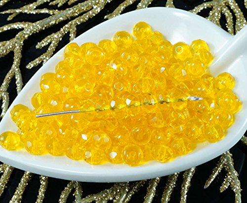 Miele di colore Giallo Chiaro ceca Vetro Sfaccettato Rondelle Rondelle Fuoco Lucido da 5mm x 3mm 50pcs