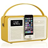 VQ Retro Mk II DAB/DAB+ Digital- und FM-Radio mit Bluetooth, Apple Lightning Dock und Weckfunktion - Senf
