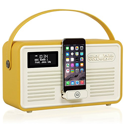 VQ Retro Mk II DAB/DAB+ Digital- und FM-Radio mit Bluetooth, Lightning Dock und Weckfunktion - Senf Fm-transmitter Charge Dock