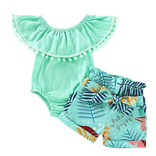 Baiomawzh Babykleidung Baby Mädchen Outfits Set Neugeborenen Sommer Quaste Ärmellos Rüschen Top + Druck Shorts Mini Bodysuit Kinderbekleidung Zweiteiliger Für Baby Mädchen 0-2Y -