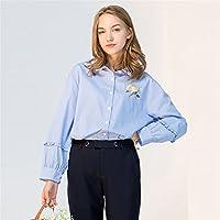 Camisa de manga larga Moda Loose finas rayas camisa de manga larga con solapa de todos,La figura,S