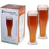 """AKTION: 2x 730ml """"doppelwandige"""" Weizenbiergläser, ideal für den Sommer, hält kaltes länger kalt, Weizenbierglas """"Weizenchef"""" von Feelino"""