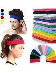Tennis Bandeau Anti Transpiration Headband Bandeaux Cheveux de Sport Course Yoga pour Femme Homme