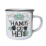 Las manos van aquí Deliciosas magdalenas Hands Design Retro, lata, taza del esmalte 10oz/280ml w885e