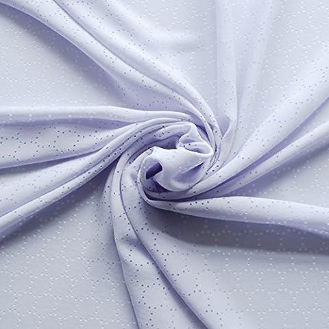 Pálido Azul Pastel poliéster luz tela de crepé vestidos con perforado Laser Cut diseño de círculo geométrico–por metro
