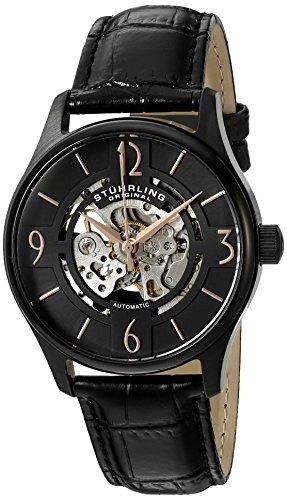 Stührling Original Man Atrium 557 - Reloj automático para hombre de con correa de cuero, color negro