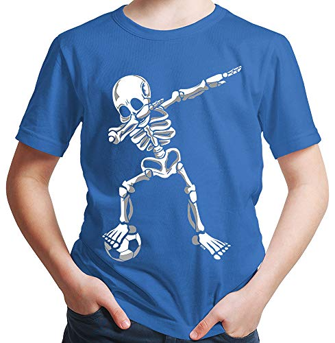 HARIZ  Jungen T-Shirt Dab Skelett mit Fussball Dab Teenager Dance Weihnachten Plus Geschenkkarten Royal Blau 140/9-11 Jahre