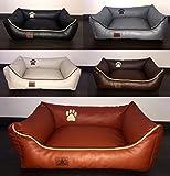 Hundebett Kunst Leder Luxus Hundebett Hundesofa Katzenbett Hundekorb S M L XL XXL XXXL Dollaro (S (ca. 70x55 cm ), camel)