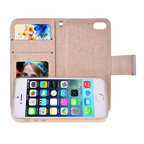 SmartLegend 2 in 1 Custodia Caso per iPhone 5 5G 5S / iPhone SE Lusso Portafoglio Holster Magnetico della Copertura Caso Shell Flip Case + Removibile TPU Back Cover - Oro verde