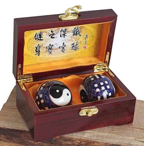 (AAF Nommel®, Hochwertige Qi Gong Meditations- Entspannungskugeln Set Nr. 001 Ying Yang in roter Holzbox)