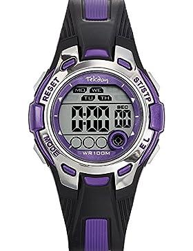 Tekday–653922–Armbanduhr–Quarz Digital–Zifferblatt Violett Armband Kunststoff zweifarbig