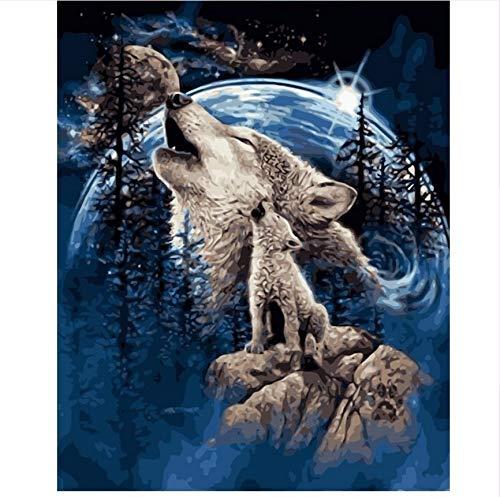 LIWEIXKY Rahmenlos Geschenk Wolf Lied Abstrakte Malerei Von Zahlen Tier DIY Öl Digitale Farbe Von Nummer Kits Leinwand Gemälde Für Home Deco 50X60Cm -
