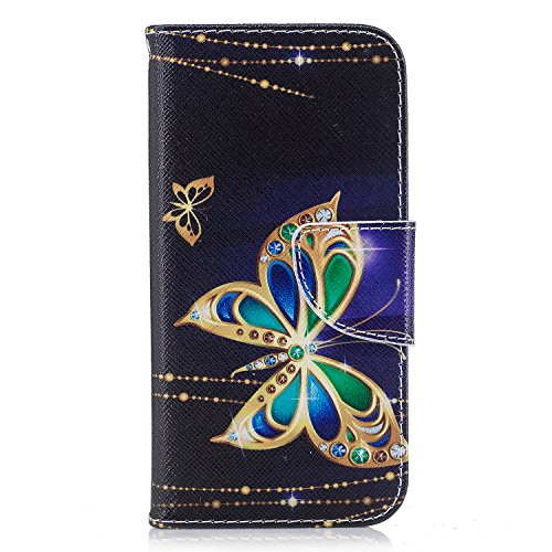Cover per iPhone 6 Plus,per iPhone 6S Plus Custodia in Pelle, ZCRO PU Cuoio Magnetica Flip Cover in Pelle a Libro Portafoglio Case Caso con Disegni e Porta Carte Protettiva Antiurto Copertura Custodia Farfalla doro
