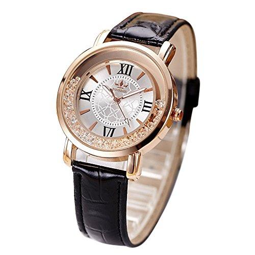 Uhren Dellin Qualität Japanisches QuarzWomen's Herren Kristall Strass Edelstahl Analog Quarz Armbanduhr (Schwarz)