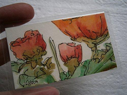 Kunst für unterwegs Aquarell Mini Blumenbild rote Heckenrosen handgemalt Original Miniatur laminiert Taschenkunst Lesezeichen als Geschenk, Geburtstagsgeschenk, Weihnachtsgeschenk