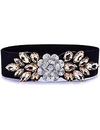 Le donne signore eleganti wild crystal diamond cinghia elastica fiore  giacca a vento accessori la guarnizione di cintura in… a9cc30836a0