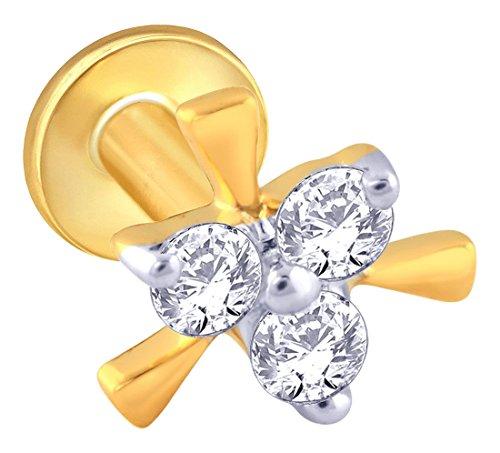 Malabar Gold & Diamonds Malabar Gold and Diamonds 18KT Yellow Gold and Diamond Nose Pin for Women