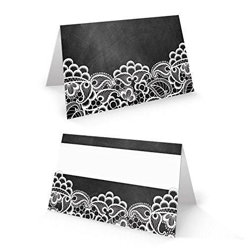 Karte Schwarz Und Weiß (100 kleine schwarz weiß SPITZE Tischkarte Namensschild Karten für Namen Platzkarte Sitzkarte Tisch-Deko Hochzeit Jubiläum Fest FÜR JEDEN STIFT Tafelkreide vintage look)