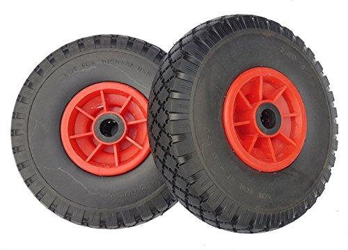 2 x Frosal PU Rad Sackkarre 260 mm 3.00-4 | Sackkarrenrad Vollgummi | Ersatzrad Bollerwagen pannensicher | Reifen Pu-4