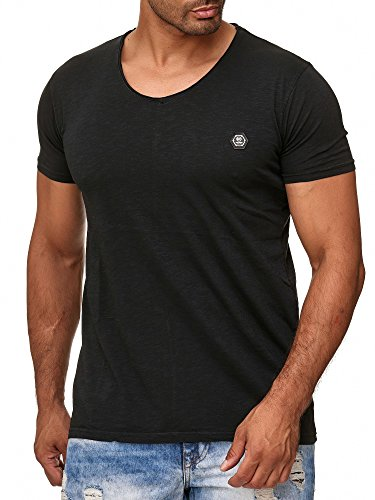 Redbridge Herren T-Shirt Casual V-Neck Basic Shirt Schwarz XL