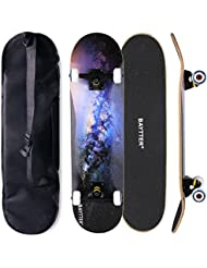 BAYTTER® Skateboard Komplett Board Funboard 79x20cm mit 7-lagigem Ahornholz und ABEC-11 Kugellager 95A Rollenhärte 31 x 8 Zoll, für Kinder, Jugendliche und Erwachsene, 4 Farben wählbar