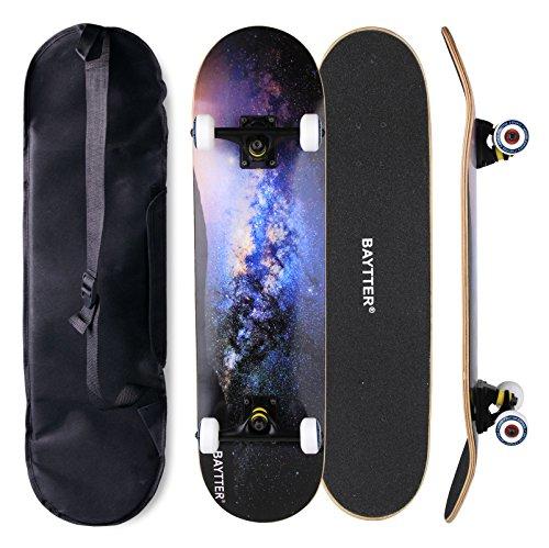BAYTTER® Skateboard Komplett Board Funboard 79x20cm mit 7-lagigem Ahornholz und ABEC-11 Kugellager 95A Rollenhärte 31 x 8 Zoll, für Kinder, Jugendliche und Erwachsene, 3 Farben wählbar (sternenhimmel) (Skateboard-ollie)