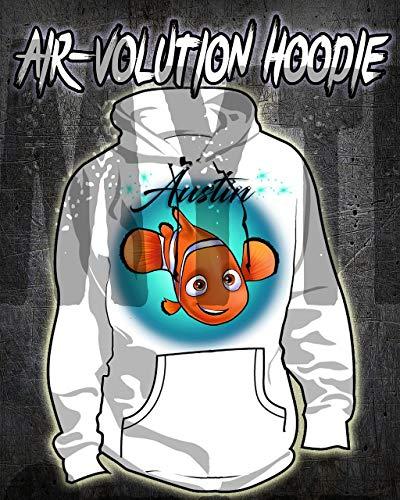 Mythic Airbrush Personalisierte Airbrush Findet Nemo Hoodie Kinder- / Erwachsen-Größen Weiß (Finding Thema Nemo)