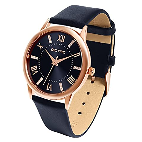 Dictac Wristwatch Classic 98ft Waterproof Round Watch With Quartz Movement Genuine Leather Strap For Ladys