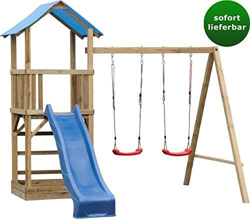 *Spielturm 7 inkl. Wellenrutsche und Doppelschaukel-Anbau – Abmessungen: 295 x 290 cm*